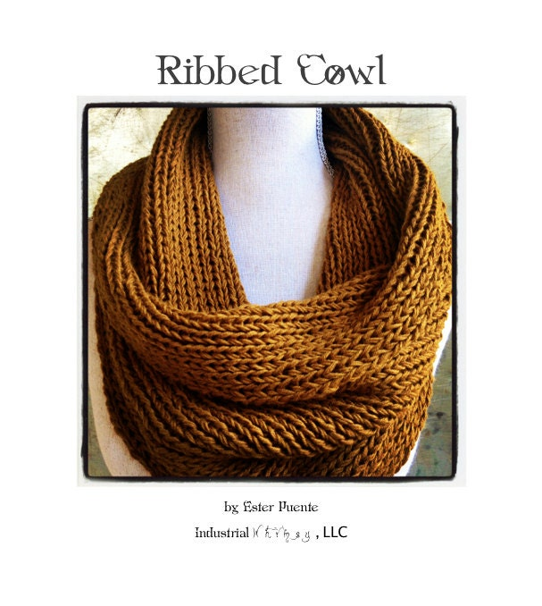 Ribbed Cowl Knitting Pattern Infinity Circle Scarf Chunky