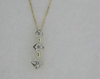 Three Stone Pendant with Natural Diamond Solid 10kt Yellow Gold