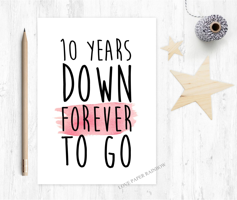 Ten Year Wedding Anniversary: 10th Wedding Anniversary Card 10th Anniversary Card 10 Years