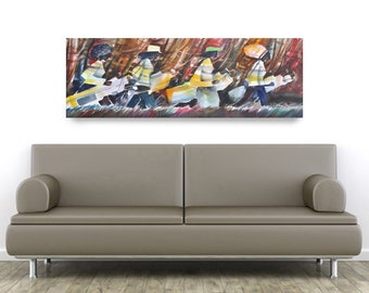 Golf Divas Canvas Art, African American Art, Contemporary Art, Golf Art, Abstract Painting, Abstract Art, Gift for Dad, Gift for Him