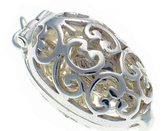 Welded Bliss Sterling 925 Solid Silver Filigree Egg Opening to Dangling Chick on Chain, Charm Pendant WBC1589