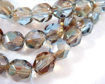 25 Light Sapphire Celsian Czech Glass 6mm Transparent Fire Polished Faceted Round Beads 1mm hole - 25 pc. - G6035-CLS25