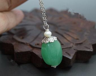 Aventurine Necklace - Genuine Aventurine Pendant, Delicate Green Aventurine Jewelry, Sterling Silver Box Yoga Necklace Heart Chakra Healing