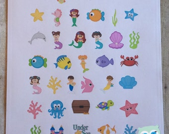 Sticker Sheet - Mermaids and Under the Sea Theme for your Personal Planner (full weekly package is available in the shop)