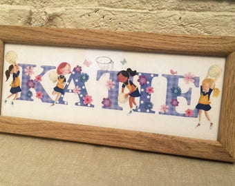 Netball Door Plaque - Children's / kids name sign / Illustration - (personalised to a favourite team)