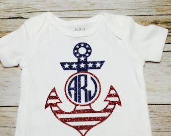 Fourth of July Glitter Monogram baby girl clothes, girl clothes, personalized bodysuit, Babies first 4th of July, Monogrammed American Flag