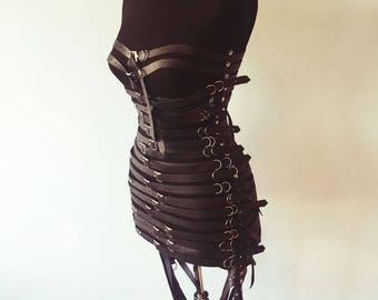 Leather Strips Dress | Chest Harness | Body Harness | Leather Top | Leather Belt | Leather Accessories | Leather Body Cage | Genuine Leather