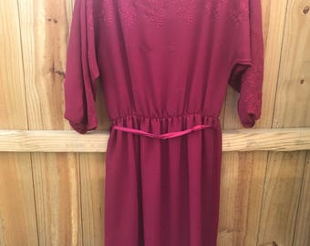 Womans 70s Vintage Ursula of Switzerland Dress / Gorgeous Maroon Red Sheer Dress with Embroidered Detailed hem