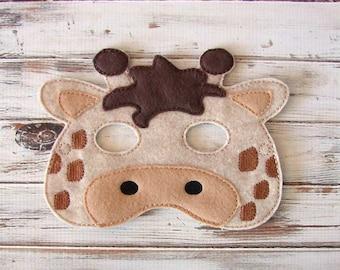 Giraffe Mask - Felt - Kids Mask - Costume - Dress Up - Halloween - Pretend Play