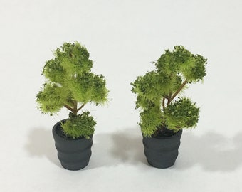 Dollhouse Potted Tree Miniature Potted Plant Fairy Garden Tree 1:12  Scale Set of Two