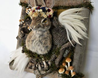 Millefleur Spirit of the Woods, Rabbit Taxidermy, romantic taxidermy art