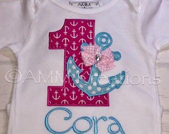 Girls Anchor Nautical Birthday Applique Shirt or Onesie