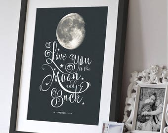 Personalised Print I Love You to the Moon and Back Paper Gift, Moon Phase, Space Gift, Nursery Gift, Wedding Gift, Anniversary Gift,Wall Art