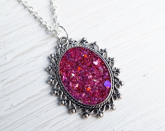 Pink Glitter Silver Pendant Necklace