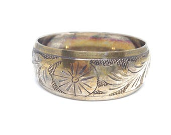Vintage Estate Ethnic Etched unky Silver Tone Bangle Bracelet