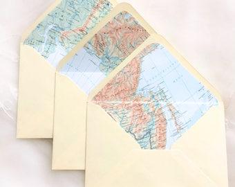 World Map Lined Envelopes, Set of 5, Map Envelope Liner, Travel Theme Party, Destination Wedding, Going Away Party, Vintage Envelopes