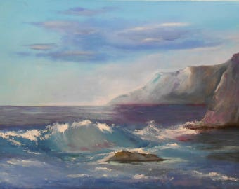 Oil on paper-Oil Realistic on paper-Modern Oil Painting-Sea oil painting-Super realistic painting-Sea and sky painting-Original wall oil art