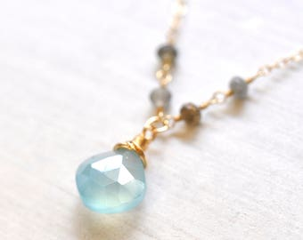 Blue Chalcedony Necklace in Gold, Labradorite Necklace, Blue stone Gold Necklace, Gift For Her, Blue Chalcedony gold Necklace in Gold