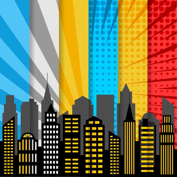 City Skyline Digital Paper Superhero Digital Background