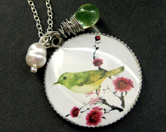 Bird Necklace. Watercolor Bird Art Necklace with LemonLime Teardrop and Fresh Water Pearl. Handmade Jewelry.