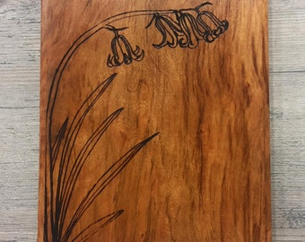 Bluebell Etched Osage Orange Plaque