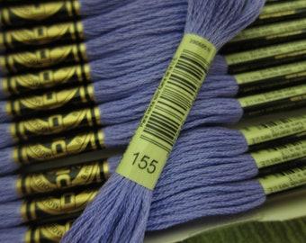 Medium Dark Blue Violet #155, DMC Cotton Embroidery Floss - 8m Skeins - Available as Single Skeins, Multi-Skein Pkgs & Full (12-skein) Boxes