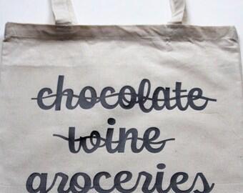Reusable Grocery Bag, Chocolate, Wine, Groceries, Gift, Shopping Bag, Market Bag