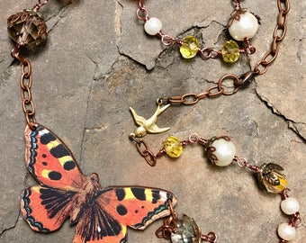 Wooden butterfly necklace, whimsical, beautiful