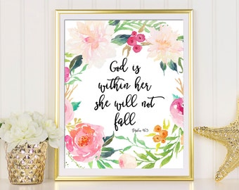 God Is Within Her She Will Not Fall, Bible Verse Printable, Psalm 46 5, Printable Art, She Will Not Fall, psalm 46, Christian Inspirational