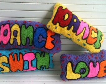 Yellow, Purple, Green, Orange Spell It Out Word Throw Pillows