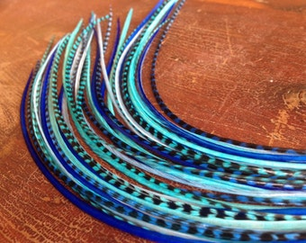 Blue Feather Extensions Long Hair Feather Extension Kit - Blue Valentine - Solid and Grizzly Cool Blue Turquoise Hues 5 Bonded Hair feathers
