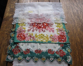 Vintage Lot of 6 Hankies Doilies Lace, Linen, Silk, Cotton, Embroidered, and  Very Pretty