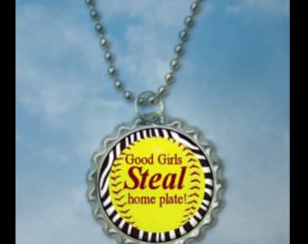 1 Good Girls Steal Home Plate Softball Bottlecap Necklace,GLITTER or Plain, softball gifts, softball team, softball gift, softball necklaces