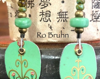 Green earrings made from a vintage tin