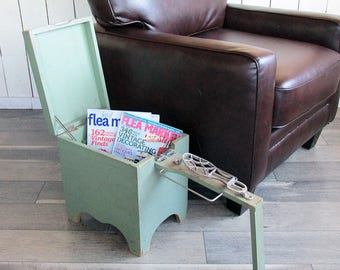 """Mid Century Hand-made Shoeshine Box - Stool with Foldout Footrest """"Unique Storage Solution"""""""