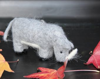 Needle Felted Rhino Sculpture: Real Alpaca Fiber