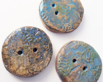 """3 Large Pottery Buttons, handmade Stoneware Pottery Button, 1 1/4""""  Sea Turtles"""