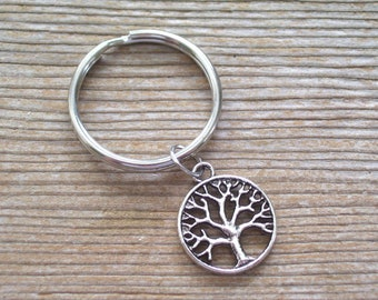 Silver Tree of Life Keychain, Silver Cutout Tree Key Ring, Nature Key Chain, Silver Tree Key Chain, Tree of Life Charm, Tree Jewelry