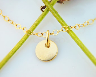 Simple Necklace - 14k Gold Filled - 6mm Tiny Disc - Gold Necklace -Everyday Necklace - Dainty Necklace - Minimalist Gold Necklace