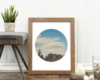 landscape art print, tree print, evergreen photo, cloud photograph, circle print, Seattle photo, modern printable, Pacific Northwest art