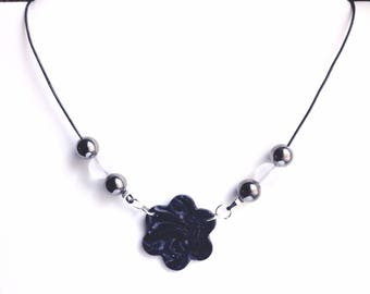 Flower necklace Navy Blue and silver