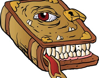 Vinyl Decal Slap Sticker Multi Color - Creepy Witch Craft Monster Magic Book Cartoon (Wide)