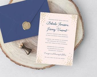 Blush Wedding Invitation, Pink and Gold Invitation, Digital Wedding Invite, Navy and Pink wedding, Printable wedding invites, Custom wedding