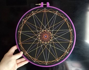 Royal Double Septagon - Hand Stitched Embroidery - 10 Inch Hoop Art