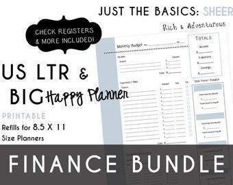 USLTR/BIG Happy Planner Finance Bundle Check Register, Monthly Budget, Debt Payoff Tracker, Debtor Contacts Passwords PDF - Sheer