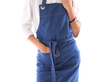 Denim (Jeans) apron. Kitchen denim mitten as a present. Your name on apron and mitten
