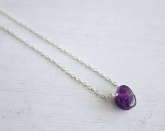 Amethyst choker, gifts for her, bridesmaids gifts, dainty necklace, gemstone necklace, minimalist jewelry, modern jewelry, layering, purple