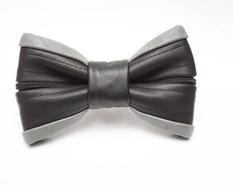 Black & Gray Leather Zipper Bow Tie