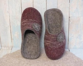 Step in room slippers man Felted  house shoes Organic gray wool slippers Gift for father, husband Bedroom slippers Handmade gift for him