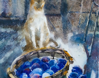 a cat and a basket with plums